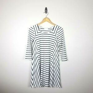 Socialite Striped Ribbed Dress Medium 3/4 Sleeve